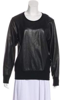 Helmut Lang Leather Crew Neck Sweater