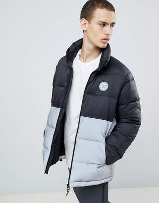 DC Water Resistant Puffer Coat with Reflective Panel in Black