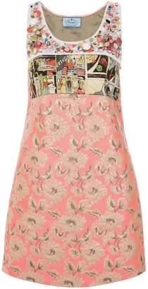 Prada printed and embellished dress