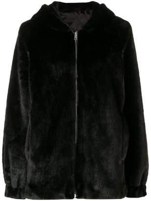 Helmut Lang hooded faux fur jacket