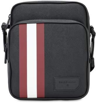 Bally Logo Stripe Faux Leather Messenger Bag