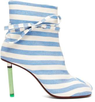 Vetements Geisha Striped Canvas Lighter Heel Ankle Boots - Womens - Blue Stripe