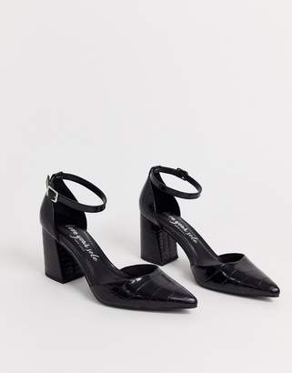 New Look block point toe heel in black croc
