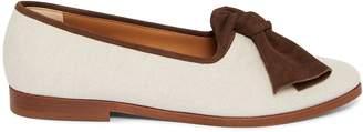 Mansur Gavriel Canvas Bow Flat - Creme/Chocolate