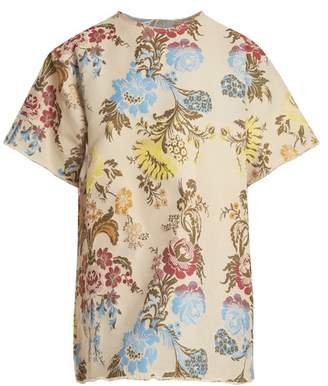Marques Almeida Marques'almeida - Floral Jacquard T Shirt Dress - Womens - Cream Multi