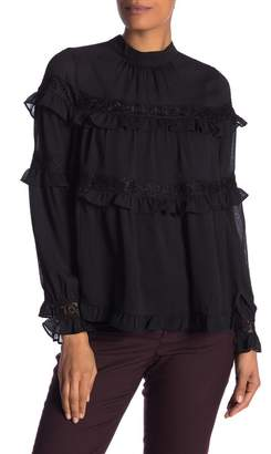 Lumie Mock Neck Ruffled Blouse