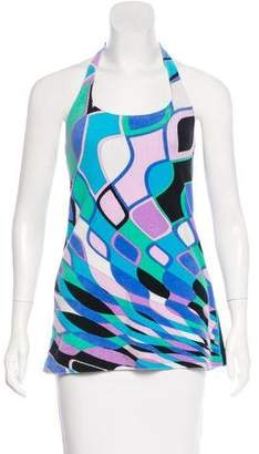 Emilio Pucci Abstract Print Halter Tops