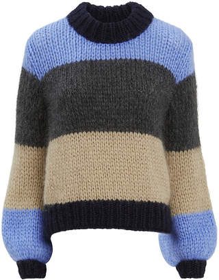 Ganni Julliard Colorblock Blue Striped Sweater