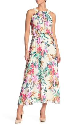 Robbie Bee Patterned Crew Neck Maxi Dress