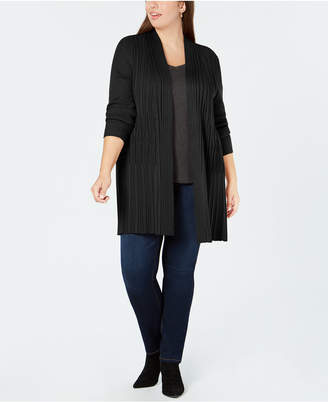 NY Collection Plus Size Ribbed-Knit Open-Front Cardigan