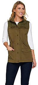 Denim & Co. Snap Front Vest with Eyelet YokeDetail