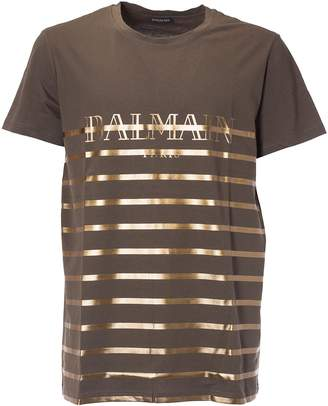 Balmain Striped Logo T-shirt