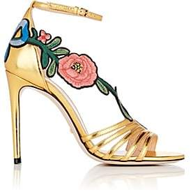 Gucci Women's Ophelia Leather Ankle-Strap Sandals - Oro, Gold