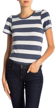 Lucky Brand Stripe Gathered Sleeve Tee