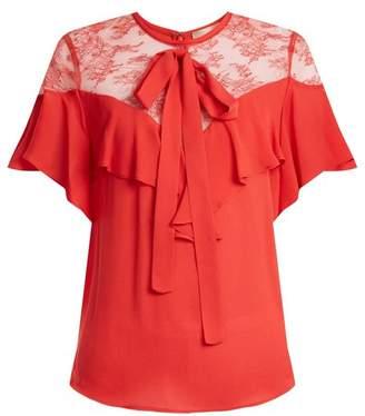 Elie Saab Round Neck Ruffle Silk Blend Top - Womens - Coral