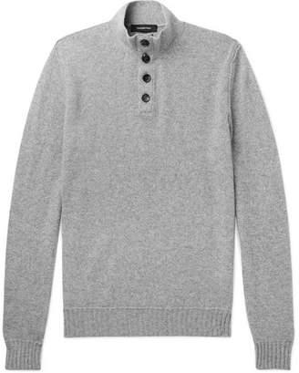 Ermenegildo Zegna Slim-Fit Suede-Trimmed Mélange Cashmere Sweater