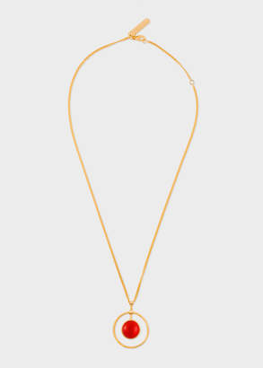 Paul Smith Rachel Entwistle + Gold Loop Necklace With Red Coral Stone