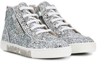 Moschino Kids glitter hi-top sneakers