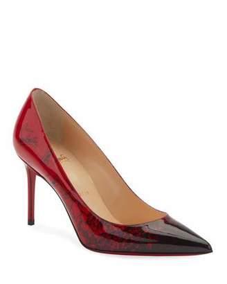 Christian Louboutin Decollete 554 Mid-Heel Patent Degraloubi Red Sole Pumps