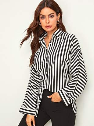 Shein Vertical-striped Button Front Curved Hem Blouse