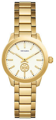 Tory Burch Collins Goldtone Two-Hand Stainless Steel Link Bracelet Watch