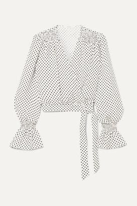 Art Dealer - Shirred Polka-dot Silk-jacquard Wrap Top - White