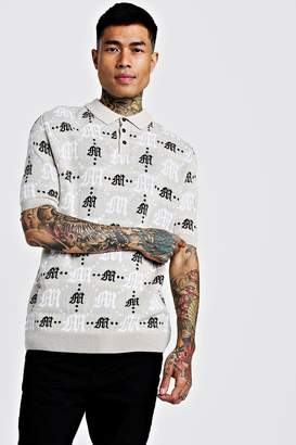 boohoo Gothic M All Over Print Knitted Polo