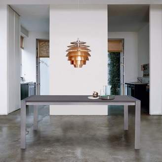 Armen Living Tessa Contemporary Dining Table in Brushed Stainless Steel and Gray Walnut Top
