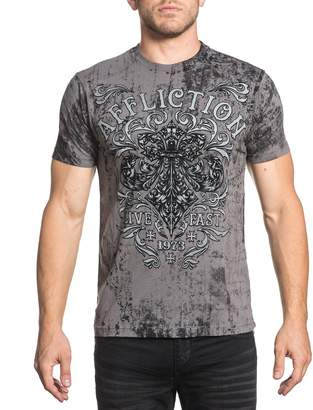 Affliction Men Shirt Live Fast Trademark Fluer S/S Crew Neck in wash