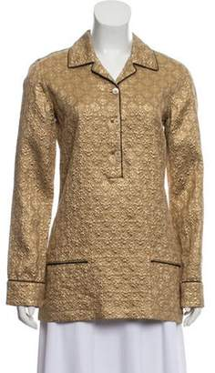 Prada Silk Brocade Top Gold Silk Brocade Top