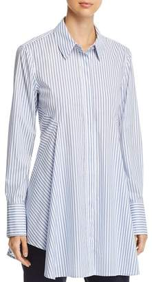 Donna Karan Pinstriped Button-Down Flare Top