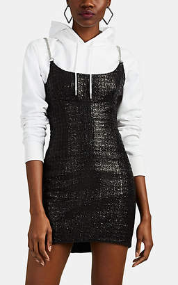 Alexander Wang Women's Chain-Strap Coated Cotton-Blend Tweed Minidress - Black