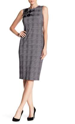 Modern American Designer Plaid Flocked Dress