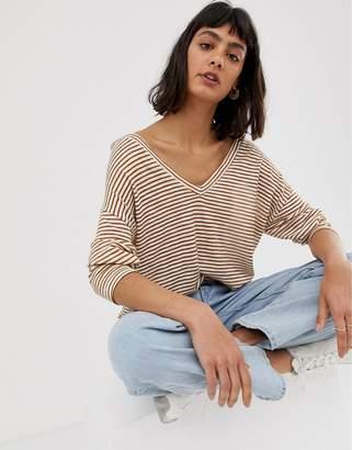 Asos Design DESIGN oversized stripe t-shirt with v back and v front