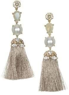 Badgley Mischka 10K Gold, Crystal & Faux Pearl Tassel Earrings