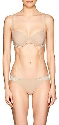 La Perla Women's Souple Lace-Trimmed Cotton-Blend Underwire Bra - Nudeflesh