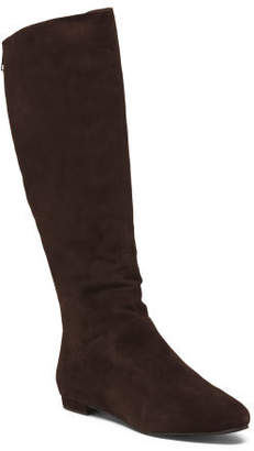 High Shaft Almond Toe Suede Boots