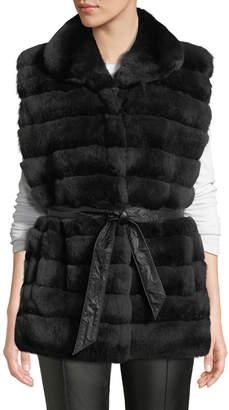 Gorski Reversible Horizontal-Quilted Rabbit-Fur Vest