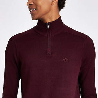 River Island Dark red zip-up slim fit funnel neck sweater