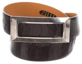 Zilli Silver-Tone Buckle Ostrich Belt