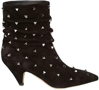 Valentino GARAVANI Flat Booties Rockstud Ankle Boot In Pointed Suede Leather