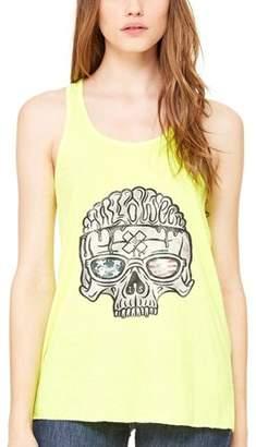 Clementine Apparel Women's US Skull Printed Flowy Racerback Tank Top