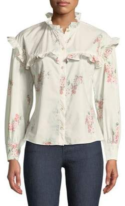 Rebecca Taylor Maia Long-Sleeve Floral-Print Cotton Top w/ Ruffled Trim