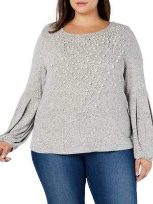 INC International Concepts Plus Pearl Embellished Puff Sleeve Sweater