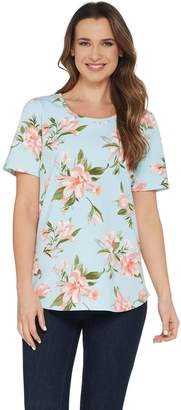 Denim & Co. Perfect Jersey Floral Print Short Sleeve Curved Hem Top