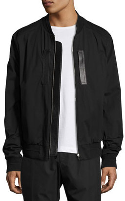 Juun J Classic Bomber Jacket with Leather Trim, Black $950 thestylecure.com