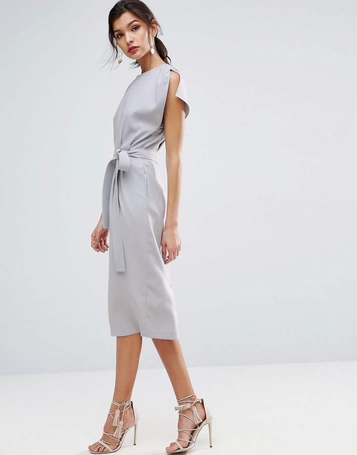 AsosASOS Belted Midi Dress with Split Cap Sleeve and Pencil Skirt