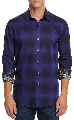 Robert Graham Dark Energy Blurred Check Classic Fit Button Down Shirt $188 thestylecure.com