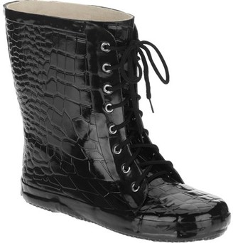 FOREVER YOUNG Forever Young Women's Lace Up Croc Texture Short Rain Boot