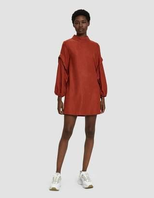 Farrow Heidi Ruffle Sleeve Dress in Rust